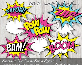 Superhero Girl Comic Book Sound Effects printable photo booth props in pink, aqua and yellow PP020 instant download