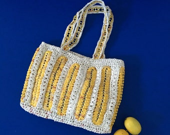 Up-cycled Plarn Tote Bag, Recycled Grocery Bags, Plastic Yarn