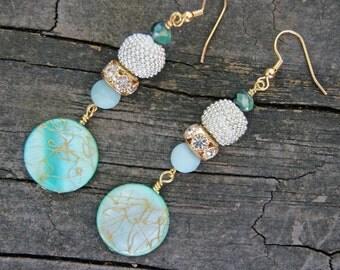 Sea Spray Aqua Green Crystal and Czech Glass Earrings, Amazonite Earrings, Dangle Earrings, Crystal Earrings