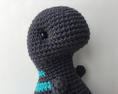 Crochet Plush T-Rex Toy - Dark Gray & Light Teal Gift For Kids Stuffed Animal Dinosaur Gift For Teens Plushie T-Rex Gift Under 50 Amigurumi