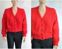80s Vintage Red Mohair Cardigan Sweater Benetton made in Italy Fuzzy Slouchy