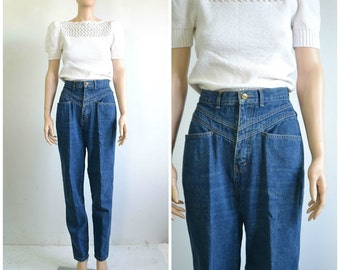 80s Vintage High Waist Jeans Gitano Tapered Leg Pleated Baggy Jeans medium - 29 inch waist