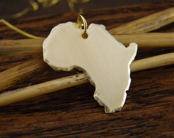 AFRICA Necklace, Gold Africa Pendant , Custom Made -ALL Countries Available