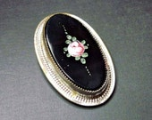 Small Vintage 1920s Art Deco Rose Dress Clip - Floral - Art Deco Jewelry - Vintage -  Black - Pink - Silver Tone