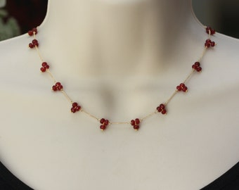 Red Jade Garnet Delicate Gold Necklace, Summer Trend, Dainty Necklace, Birthday Gift for Wife, for Sister, for Teacher, for Layering
