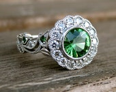Round Tsavorite Engagement Ring in 14K White Gold with Diamonds and Tsavorite in Vine Motif Setting Size 5 - RESERVED for Ned