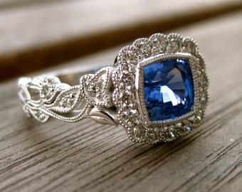 Certified Blue Sapphire Engagement Ring in 14K White Gold with Diamonds in Flower Buds & Leafs Size 8
