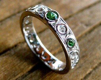 Tsavorite Wedding Ring in 14K White Gold with Diamonds and Scroll Work Size 6