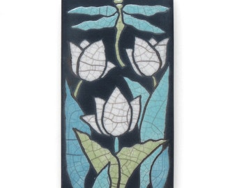 Dragonfly and white tulips, a 3x6 ceramic handmade art tile for your home, wall art,home decor