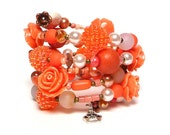 EVERYTHING is PEACHY coil Beaded Bracelet by Beading Divas Fundraiser