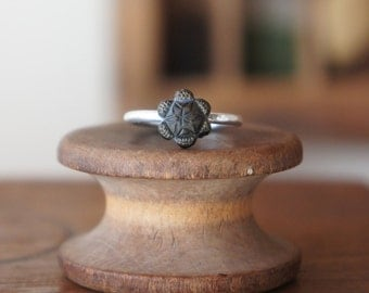 Handmade Silver Artisan Ring with Antique French Mourning Glass Flower