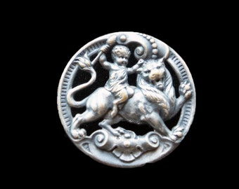 Antique French Silver Plated Button Cherub Riding Lion