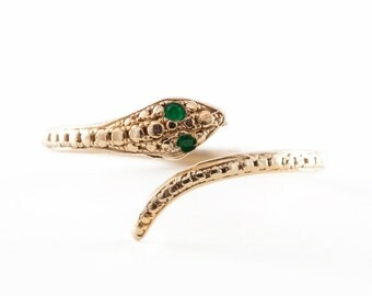 Snake Ring, Gold Ring, Emerald, Symbol Jewelry, Statement Ring, Midi Ring, Tula Jewelry.