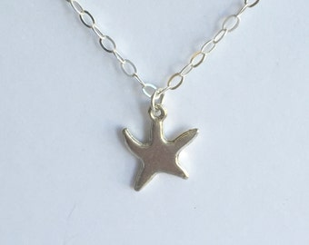 Sterling Silver Starfish Beach Necklace, Sterling Charm Necklace