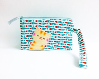iPhone 6 Wristlet Wallet, iPhone 6s Clutch Purse, Blue Cellphone Wristlet, Cat Zipper Pouch, Gift For Her, Cat and Fish - Smiling Kitty