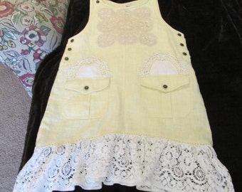 upcycled yellow linen jumper pinafore refashion sz S-M vintage lace & doilies artsy prairie uneven hem