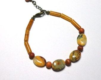 Jasper Gemstone Bracelet, Amber Grey Rust Jasper Bracelet, Bracelet Jasper, Natural Srone Bracelet, Spiritcatdesigns