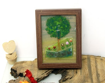 Earthy  green Landscape painting , Wall hanging,  Table painting Art