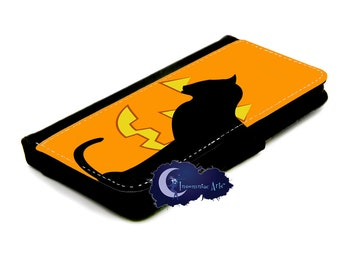 Pumpkin Cat Halloween Wallet Case for iPhone