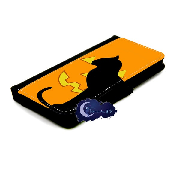 Pumpkin Cat Halloween Wallet Case for iPhone