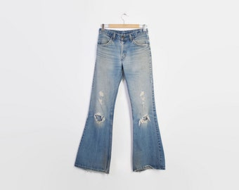 Vintage 70s BELL BOTTOMS / 1970s Perfectly Faded & Frayed LEVI's Bells High Waist Distressed Jeans S