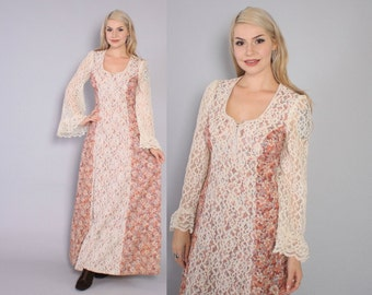 Vintage 70s DRESS / 1970s Boho Angel Sleeve Floral Cotton Empire Waist Corset Lace-Up Festival Maxi Dress