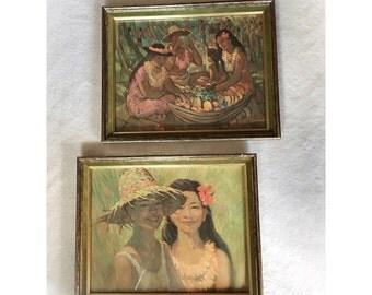 Vintage Pair of Hawaiian Prints Framed Green Velvet Borders Kitsch Tiki