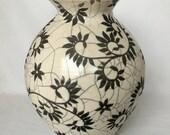 Large White Crackle Raku Vase