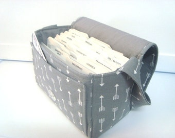 """Large 4"""" Size Coupon Organizer / Coupon Bag /Budget Holder Box Attaches to Your Shopping Cart Gray with White Arrows  - Select Your Size"""