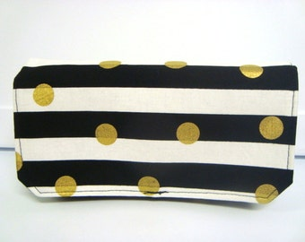Coupon Organizer Cash Budget Organizer Holder- Attaches to your Shopping Cart  - Black and White Stripes with Gold Dots