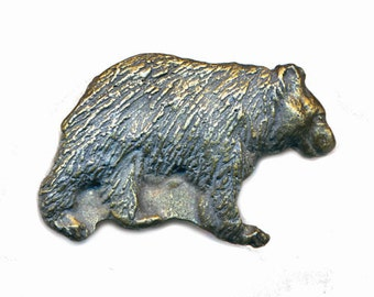 Button--Big Vintage Brass or Bronze Lumbering Grizzly Bear