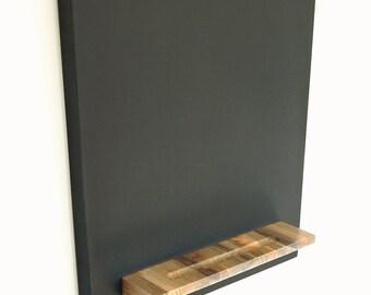 Modern Hanging Chalkboard - Blue Pine Wood Tray, 14 X 30 Monolith Design