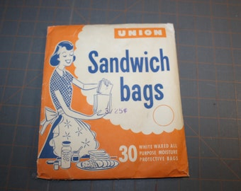 Vintage Union Sandwich Bags Unopened 30 Waxed All Purpose Moisture Protective bags Old Store Prop