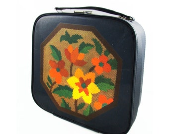Flower Embroidery Up-cycled Vintage Vanity Case