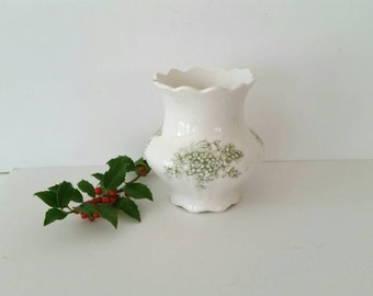 Antique Ironstone Vase . White IronstoneTransfer Ware Pot . Knowles Taylor Knowles . Transferware . American Ironstone China . Green