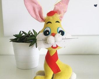 Vintage Jerry Elsner Mid Century Yellow Rabbit Sawdust Plush