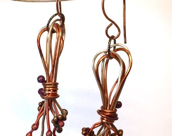 Copper and Sterling Silver Industrial Chaos Dangel Earrings