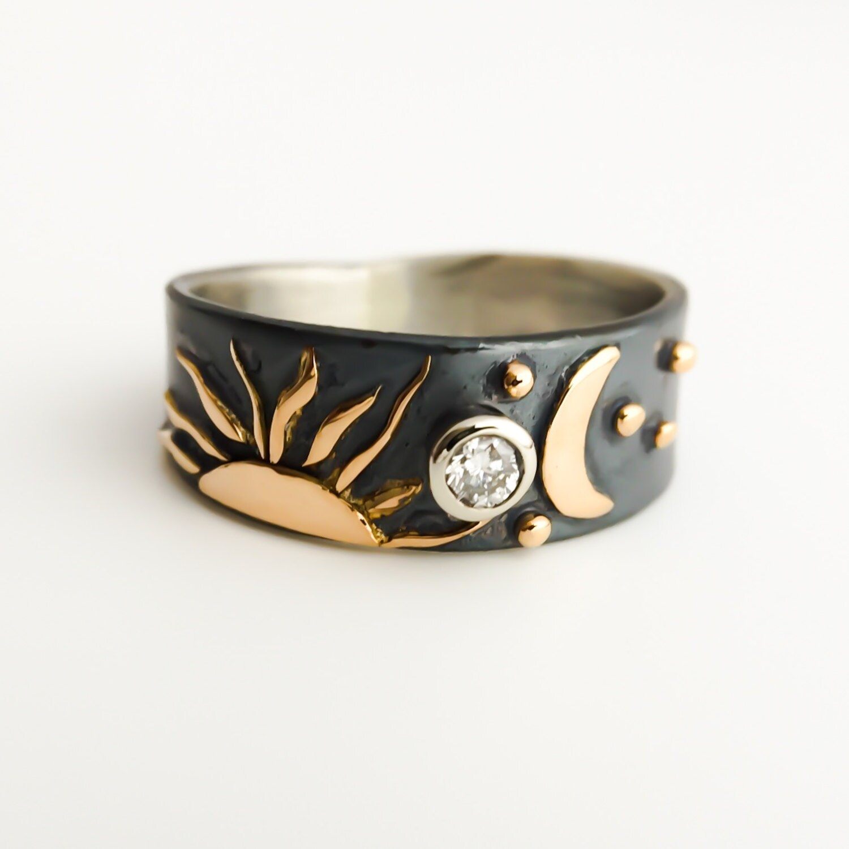 Sterling Silver Ring Sun Moon Stars Ring 18k Gold Diamond Ring