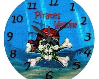 Pirate mermaid party wall clock