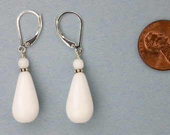 White Czech Glass Drop Earrings
