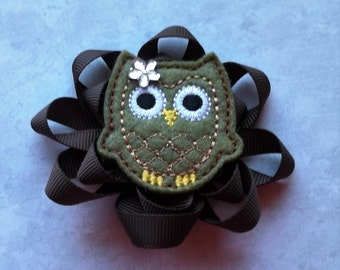 Fall Green and Brown ribbon hair clip feltie owl for girls