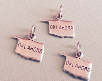 Oklahoma State Charm Pendant with Loop, Antique Silver, Great for Charm Bracelets, Necklaces, Earrings