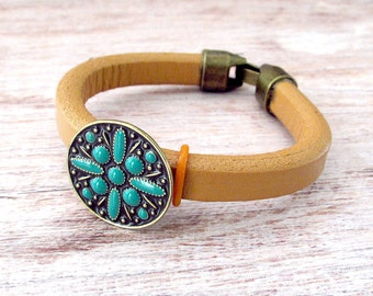 Ladies Leather Bracelet - Layering Bracelet - Rustic Bohemian Cuff - Leather Cuff Bracelet - Bohemian Leather Cuff Bracelet - Leather Cuff