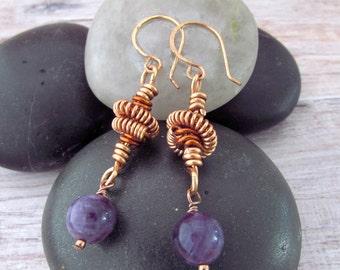 Bohemian Tribal Earrings - Boho Amethyst Earrings - Spiral Earrings - Amethyst Copper Earrings - Ethnic Earrings - February Birthstone - Ear