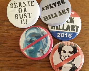 "Anti Hillary pins - PACK OF 5 - 2 1/4"" button"