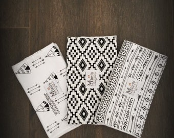 Black and white Aztec burp cloth set - pack of 3