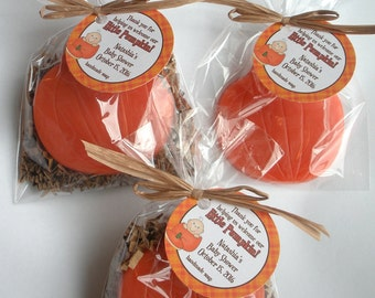 Our Little Pumpkin  Lil Pumpkin Autumn Harvest Fall Baby Shower Pumpkin Patch Party Favors Handmade Soap (20 complete favors with tags)
