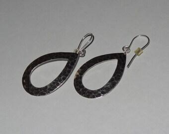 Vintage Sterling Silver Hammered Hoop Disc Dangle Earrings