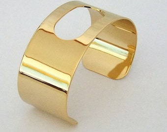 Gold Plated Cuff 1 1/8 Inch Wide Oblong Cutout Ready For Crafting Or Wear  SALE While Supplies Last