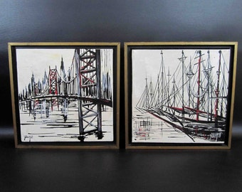 Vintage Set of Acrylic Paintings. Bridge / Cityscape and Ship in Harbor.